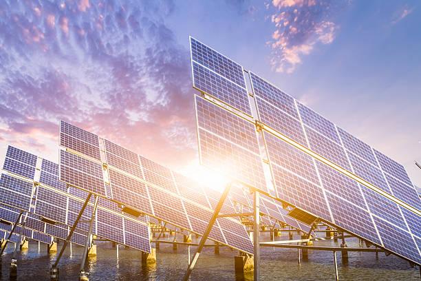 solar energy panels and wind turbines at shanghai china..